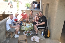 Tea time on the terrace/roofs of a Berber village with our tour group