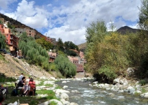 Lunch along the river in Ourika Valley, Morocco